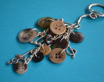 Music Bag Charm Music Keyring - Musician Gifts Button Keyring Brown Bag Charm Music Notes Musical Button Bothy(CB14)