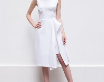 SALE 30% Off, Plus Size Dress, Designer Dress, White Midi Dress, Knee Length Dress, White Dress, Sleeveless Dress, Minimalist Fashion