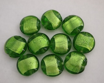 Clear bottle-green flat round silver foil beads 18mm