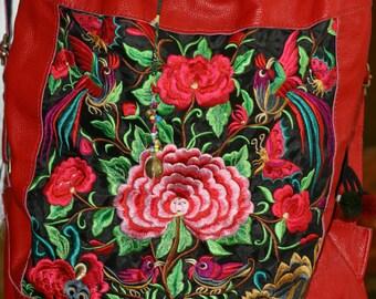 Red leather boho embroidered handbag, flowers and bird design, large backpack style, brass bells, hippy bag