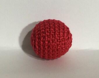 "1.06"" / 27 mm Crochet Teething Ball in Dahlia (21) -  1 Hand Crocheted Birch Wood Ball for Teething"