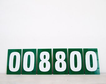 vintage industrial green and white perspex numbers, zero