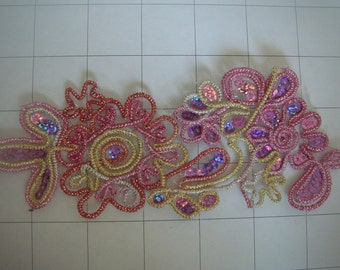 Pink and Purple Muliti Color Sequins Flower Applique