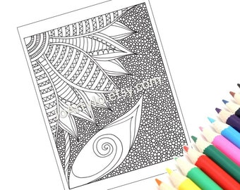PDF Coloring Page Printable, Zentangle Inspired, Zendoodle Flower, Page 42