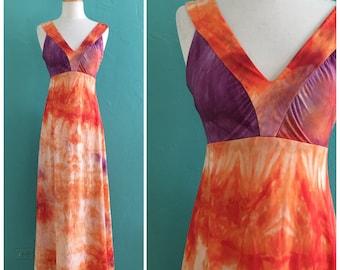 70's maxi tie dye hippie dress
