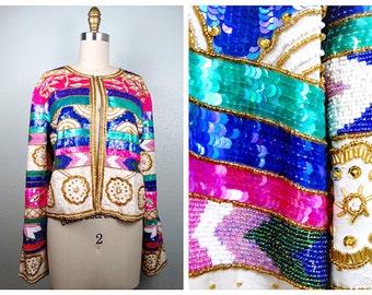 RETRO Geometric Sequin Jacket // Bright Sequined Jacket // Heavily Embellished Beaded Evening Jacket