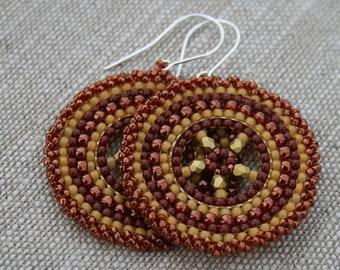 yellow bronze earrings victorian earrings beaded earrings, hoop earrings, seed beads earrings, beadwoven earrings, beadwork, dangle earrings