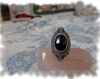 Beautiful Vintage Victorian Onyx and Marcasite ring 7-7 1/2