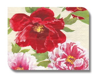 Floral paper napkin for decoupage (cocktail)  x 1. Red roses, white roses. Decoupage paper. Vibrant Flowers. No 1120