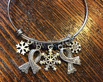 Winter Chill - Scarf and Snowflake Charms Stainless Steel Bangle Bracelet