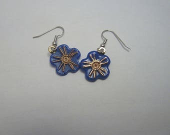 Hypo-Allergenic Orange Blue Daisy Flower Cast Glass with Gold Mica Drop Earrings with Surgical Steel Ear Wires