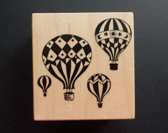 PSX F1480 -Hot Air Balloons - Decorative - Retired Rubber Stamp (1)