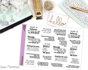 "SNARK SERIES: ""Buckle Up, Buttercup... There's F*ckery Afoot."" Paper Planner Stickers"