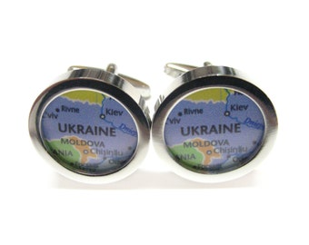 Ukraine Map Pendant Cufflinks