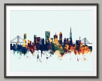 San Francisco Skyline v2, San Francisco California Cityscape Art Print (2631)