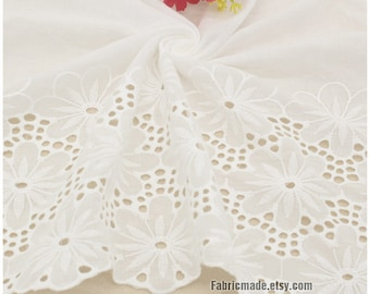 Off White Cotton Eyelet Hollowed Borders Fabric, White  Lace Cotton Border Embroidery Fabric 1/2 yard