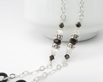 Silver Glasses Holder with Swarovski focal; Reading Glasses Necklace; Eyeglass Holder; Silver Glasses Chain; Cord for Readers; Glasses Leash