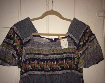Vintage folk boho maxi dress