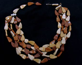 Vintage mid century necklace-old german jewelry-neutral brown tan southwestern