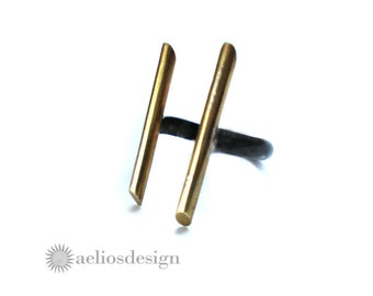 Oxidised Sterling Silver Brass Bar Open Abstract Ring