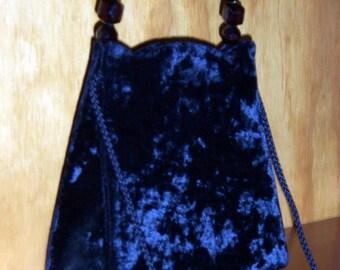 black crushed velvet handbag w big beaded handle