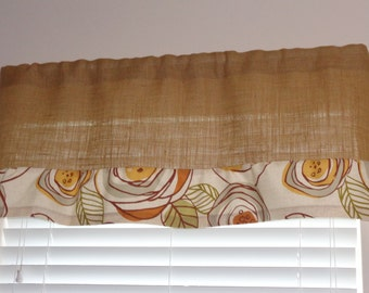 """Burlap Valance Curtain with Lightly Ruffled Cream-Colored Print Border, 17"""" x 42"""", 2"""" Rod Pocket with No Header, Kitchen Curtain"""