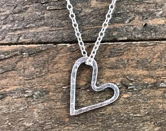 Sterling Silver Floating Heart Necklace, Hand Forged Sterling Silver Necklace, Hammered Heart Necklace, Minimalist Sterling Silver Necklace