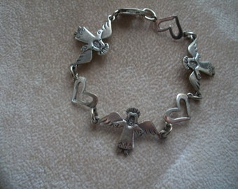 Jeep Collins Bacelet, Angels & Hearts, Link Bracelet, Sterling Silver, from Nanas Vintage Shop