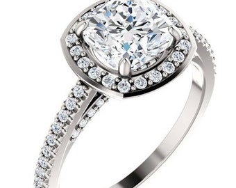Forever One Moissanite Engagement Ring  7x7 Cushion Cut  18k White Gold  Conflict Free Diamond Accents