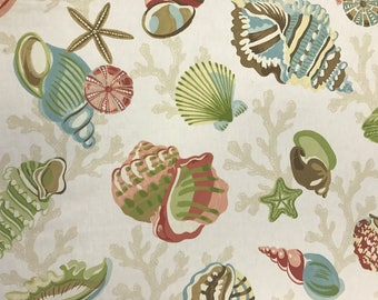 Sea Shell Collection - Coastal Fabric - Beach Decor - Upholstery Fabric By The Yard