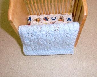 Blue Miniature Doll Blanket - Hand Knit Pale Blue 1-12 Scale Doll House Blanket - Miniature Enthusiast