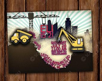 Construction Birthday Invitation - Construction Tractors Crane, Excavator, Dump Truck, Bulldozer - PRINTABLE or Printed Invitations