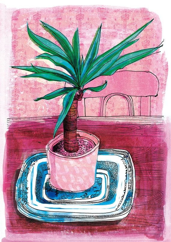 SALE Little Palm Wall Art Print house plant illustration pink and green