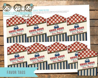 Personalized Vintage Train Favor Tags