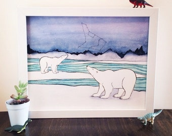 Polar Bear Art - Polar Bears and Constellations Art Print - from original watercolor painting 5x7