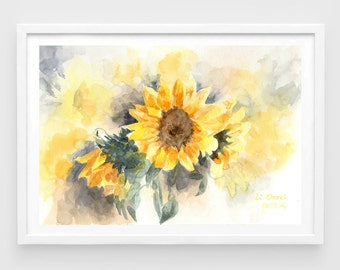 "Original watercolor,sunflowers,original painting,7""9x11""8,garden,home decor"