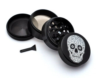 Herb Grinder - Black Aluminum Alloy Day of the Dead Style 5 Picture Grinder