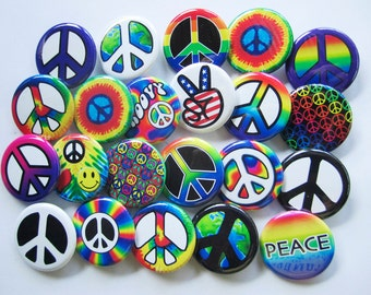 """24 Peace Sign Pins Pack of 2 Dozen Assorted Small Colorful 1.25"""" Pinback Peace Badges or Buttons"""