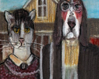 original art  aceo drawing cat and dog anthropomorphic american Gothic