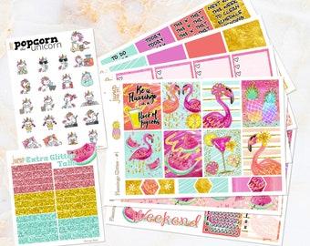 Flamingo Glitter tropical set kit weekly stickers - Erin Condren VERTICAL Planner - summer watercolor beach pineapple gold