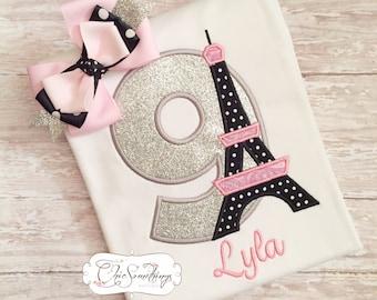 paris shirt, eiffel tower shirt, pink paris shirt, Paris birthday, eiffel tower birthday, first birthday day, second birthday eiffel UD