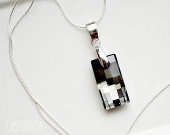 Swarovski Black Diamond Crystal Pendant, Swarovski Crystal Silver Night Necklace, Crystal Night Swarovski Pendant,Crystal Black Pendant