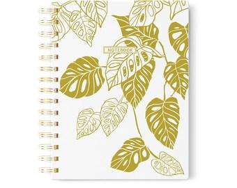 Gold A5 Spiral Notebook, Botanical Gold Foil Notebook, Gold Monstera Leaves, Botanic Journal, Modern Notebook, Travel Journal