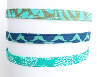 Headbands for Women. Adjustable Fabric Headbands. Gift for Her.  Girls Headband. Thin Headbands. Headbands for adults   Aqua Collection