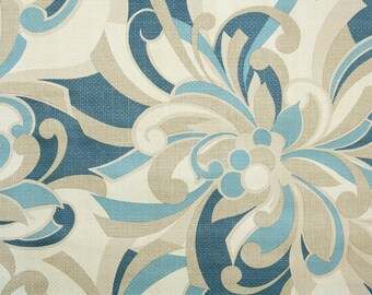 Retro Wallpaper by the Yard 60s Vintage Wallpaper - 1960s Blue and Tan Mod Floral