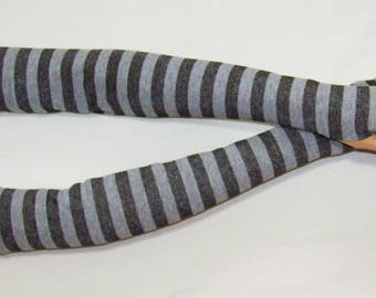 Cotton,Knit,Jersey,Stripes, Long Arm Warmers,Soft, Fingerless Gloves, Boho, Punk, Yoga, Bicycle, Sleeves with Thumb Holes. IDEAL for HER