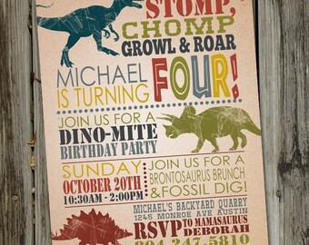 Dinosaur Birthday Invitations, Dinosaur Birthday Invitation, Dinosaur Invite, Boys Birthday Invite, Dinosaur Party, DIGITAL FILE
