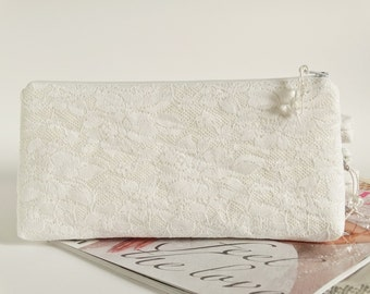 Snow White Clutch for Bride Wedding Bridal Lace Cosmetic Purse Bride to be Gift
