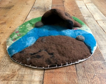 Adorable Waldorf Inspired Play Scape Wet Felted Playmat Felted Animal Season Table Playscape Landscape Cave Montessori Pre-School Organic