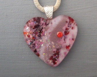 Red and Pink Heart Pendant, Valentine Heart Pendant, Fused Glass Heart Pendant,  Stone Look Glass Pendant - Cubic Zirconia Jewelry